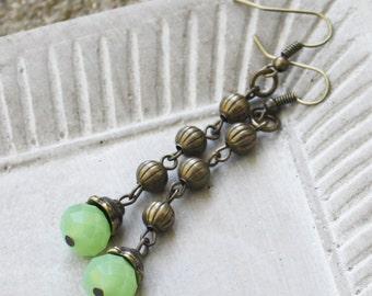 Long Antiqued Brass Earrings, Light green earrings, chain earrings, boho earrings, bohemian earrings, gypsy earrings, gypsy jewelry