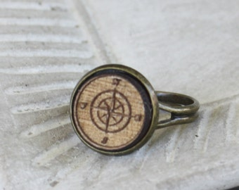Wood Compass Ring - Walnut Laser Engraved Compass Ring - adjustable ring, brass ring, woodland ring, wood ring, compass jewelry