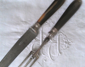 a set of 6 french knives and a serving long fork and Knife with horn handles