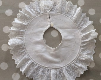 A pair of antique of rare hand made baby bibs