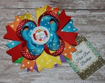 Rainbow baby Hair Bow - Rainbow baby Bow -  5 inch Hair Bow - Rainbow Hair bow - Rainbow baby Hairbow