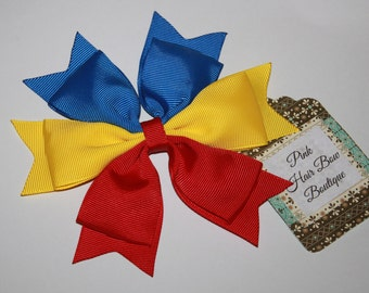 Red yellow and blue hair bow , Cheer Bow , team hair bow , school hair bow , spirit hair bow , build your own bow
