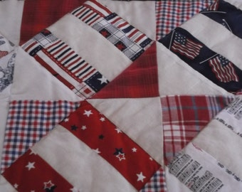 quilted red, white,  and blue, patriotic table runner