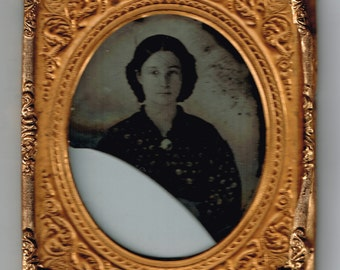 Antique Ambrotype of a Beautiful Woman, circa 1860, Broken, In Frame