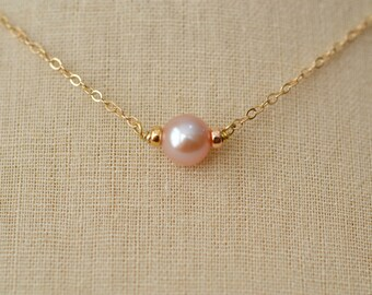 Solitaire Freshwater Pearl Necklace, Pink Freshwater Pearl, Gold Fill Necklace