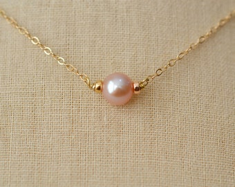 Solitaire Freshwater Pearl Necklace, Pink Freshwater Pearl, Gold Fill Necklace, Sterling Silver Pearl Necklace