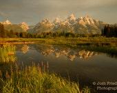 Grand Teton National Park at Sunrise Fine Art Photograph Morning Light Reflection Schwabachers Landing Snake River Mountain Landscape Print