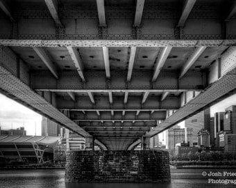 Pittsburgh Black and White Photograph Rachel Carson Bridge Monochrome Photography Architecture Heinz Field River HDR Photo Wall Art Print