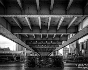 Pittsburgh Black and White Photograph Rachel Carson Bridge Monochrome Photography Architecture Heinz Field River HDR Photo Wall Art Print