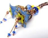 Last pair Blue Dangle earrings lucite flower earrings beadwork earrings cluster earrings gift for her spring earrings vintage drop earrings