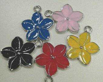 CLEARANCE Flower Charms - 10pcs  Red, Yellow, Black, Blue, Pink Enamel Gold Plated 22x18.5mm