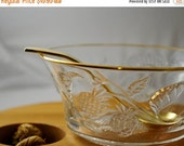 ON SALE Glass Serving Dish with spoon, Glass Bowl with Gold Plated Trim