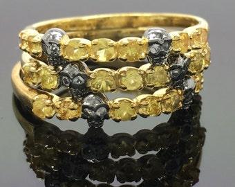 Mischievous yellow sapphire skull ring, gothic ring, mini skull ring, tiny skull ring, skull ring for women, stacking ring, November, D315SK