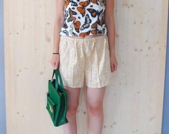 SALE Yellow Cotton Shorts Beach Shorts GEOMETRICAL print shorts