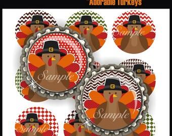 BOTTLE CAP IMAGES, Adorable Turkeys, BottleCap Images, 4x6 Digital Collage Sheet, One Inch Circles for Pendants, Hair Bows, Badge Reels