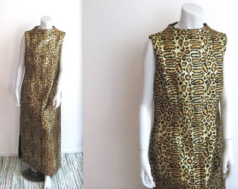 Glam Vintage 60s Alice of California Metallic Brocade Leopard Print Maxi Dress