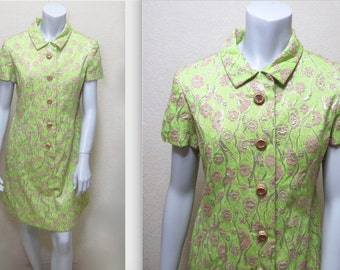 Vintage 60s Saks Fifth Avenue Couture Green & Pink Brocade Dress w Rhinestone Buttons