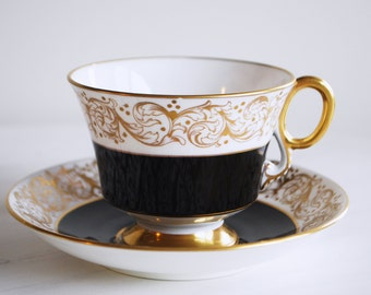 Adderley Teacup and Saucer / Black and Gold / Vintage Tea Cup and Saucer