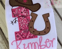 Cowgirl Birthday Shirt or Bodysuit -- Her First Rodeo -- 1st birthday cowgirl shirt in pinks, bandana, burlap