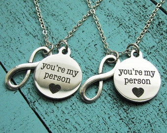 friend gifts, you're my person friendship necklace set, gift best friend necklace, mother daughter jewelry, sister gift, infinity necklace