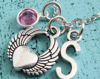 angel wing necklace, memorial gift, mom to an angel jewelry, sympathy miscarriage baby loss necklace, loss of loved one, remembrance gift