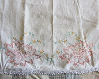 Vintage Embroidered Pillowcase Peach Floral White Cotton Crochet End AS IS