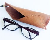 Tan Leather glasses case necklace recycled leather