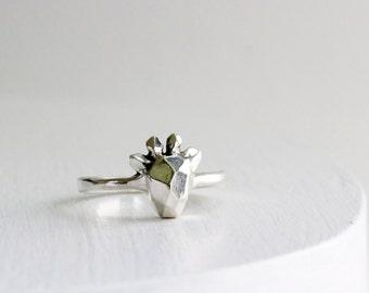 Faceted Giraffe Sterling Silver Ring, Giraffe Fine Jewelry