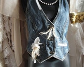 Jean vest with lace, gypsy,hippie,boho,bohemian