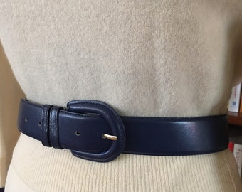 Versatility and Sophistication--Wide Navy Blue Leather Belt