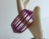 Laminated Lucite Bracelet Giant Cuff in Purple and Clear
