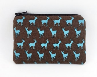 Deer Coin Purse - Zipper Pouch - Card Wallet - Gift ideas - Brown Padded Pouch - Change Purse - Mini Pouch