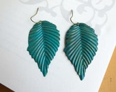 Turquoise leaf earrings- Verdigris antique bronze leaf- Antique bronze leaf earrings-Turquoise earrings- Simple- Leaf- Filigree earrings