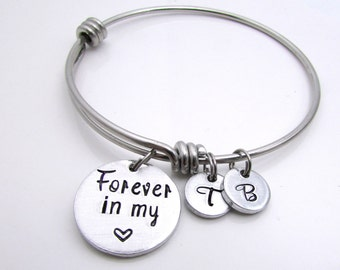 Personalized Bangle Bracelet - Mother's Bracelet - Hand Stamped Jewelry - Expandable Bracelet - Personalized Bracelet for Women