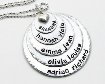 Grandma Necklace - Hand Stamped Jewelry - Personalized Mother's Necklace - Personalized Mom Necklace Grandmother Necklace Gift for Her (120)