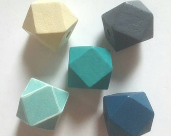 Wooden Geometric Polyhedron Faceted Bead x5 - Teal Mix - Medium 20mm