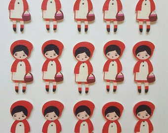 15pcs Wooden Zakka Little Red Riding Hood Buttons. Perfect for sewing, scrapbooking and card making.
