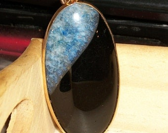 "Blue and black Agate gemstone pendant- Agate with druzy Quartz focal bead- 60 x 30 mm-(2 1/2"" x 1"") -3112"
