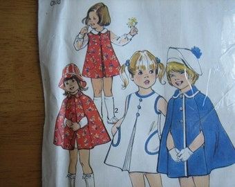 Simplicity Pattern 6826 Child's Dress or Jumper and Cape     1975