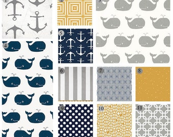 Whale Crib Bedding, Anchor Baby Bedding, Nautical Crib Set, Navy, Golden, Grey Baby Boy Set