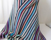 Hand knit large stripe scarf  throw