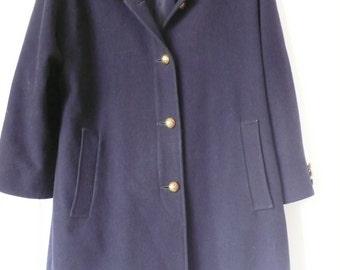 Vintage navy Jaeger swing coat gold buttons wool camel UK 12