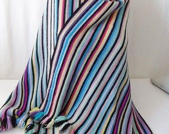 Hand knit large stripe scarf / throw