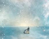 Fairytale Sailboat Print KEEP CALM BREATHE Wellness  - Giclée Wall Art Print Nautical Sea  -   Original Art by Ghostales Annabelle