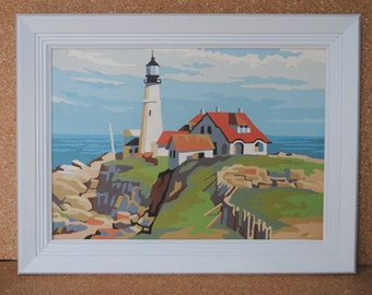 Vintage Lighthouse Mid Century Paint By Number Framed Art in Unique Wood Stained Frame
