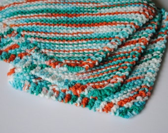 Set of 3 Cotton Dish Cloths, Teal White and Orangey Red, 100% cotton, biodegradable, green, environmentally friendly