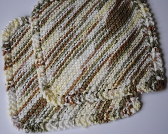 Set of 2 Cotton Dish Cloths, Earthy Greens, Yellows, Browns, 100% cotton, biodegradable, green, environmentally friendly