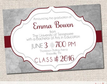 Classic Marble Graduation Announcement - College Graduation - High School Graduation - Graduation Party - Printable