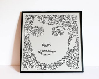Penelope Cruz Poster- Pe - Spanish actress - fine Art Print - biography doodle portrait - Movie Wall Art - Ltd edition of 100 -
