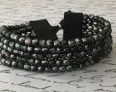 ON SALE Black Multi Strand Bracelet, Boho Chic, Adjustable, Ultrasuede, Black Beaded Bracelet